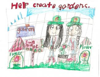 "Drawing of 2 girls gardening and text ""Help create gardens"""