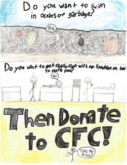 Drawing showing an ocean of trash and an ill person and encouraging people to donate to the CFC