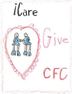 "Drawing of girls holding hands in a heart and text ""I Care Give CFC"""